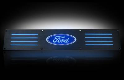 Lighting - Accent Lighting & Accessories  - Recon Lighting - Ford 99-16 SUPERDUTY (Fits 4-Door Super Crew Rear Doors Only) Billet Aluminum Door Sill / Kick Plate in Black Finish - Ford Logo in BLUE ILLUMINATION