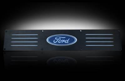 Recon Lighting - Ford 99-16 SUPERDUTY (Fits 4-Door Super Crew Rear Doors Only) Billet Aluminum Door Sill / Kick Plate in Black Finish - Ford Logo in BLUE ILLUMINATION - Image 2
