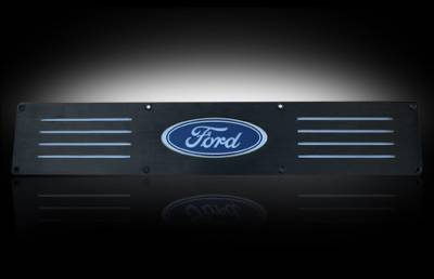 Recon Lighting - Ford 99-16 SUPERDUTY (Fits 4-Door Super Crew Rear Doors Only) Billet Aluminum Door Sill / Kick Plate in Black Finish - Ford Logo in RED ILLUMINATION - Image 2
