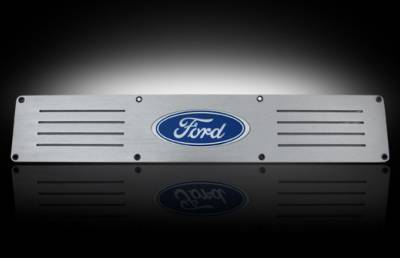 Recon Lighting - Ford 99-16 SUPERDUTY (Fits 4-Door Super Crew Rear Doors Only) Billet Aluminum Door Sill / Kick Plate in Brushed Finish - Ford Logo in RED ILLUMINATION - Image 2