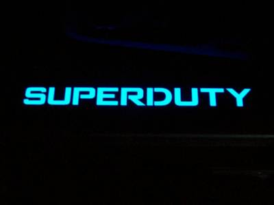 Recon Lighting - Ford 99-16 SUPERDUTY Billet Aluminum Door Sill / Kick Plate (2pc Kit Fits Driver & Front Passenger Side Doors Only) in Black Finish - SUPERDUTY in BLUE ILLUMINATION - Image 2