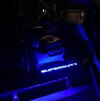 Recon Lighting - Ford 99-16 SUPERDUTY Billet Aluminum Door Sill / Kick Plate (2pc Kit Fits Driver & Front Passenger Side Doors Only) in Black Finish - SUPERDUTY in BLUE ILLUMINATION - Image 4