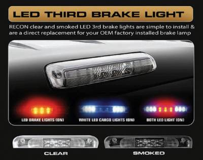 Recon Lighting - Ford 99-16 Superduty F250HD/350/450/550 & 95-03 Ranger & Ford Explorer Sport Trac 01-05 - Red LED 3rd Brake Light Kit w/ White LED Cargo Lights - Smoked Lens - Image 4