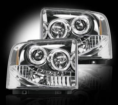 Lighting - Head Lights - Recon Lighting - Ford Superduty 05-07 F250/F350/F450/F550 PROJECTOR HEADLIGHTS - Clear / Chrome