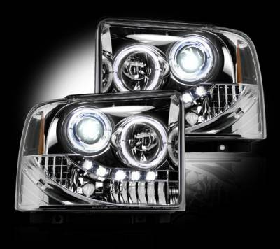 Recon Lighting - Ford Superduty 05-07 F250/F350/F450/F550 PROJECTOR HEADLIGHTS - Clear / Chrome - Image 2