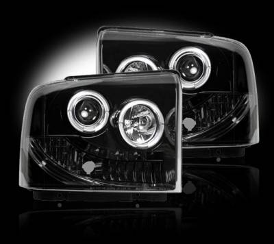 Lighting - Head Lights - Recon Lighting - Ford Superduty 05-07 F250/F350/F450/F550 PROJECTOR HEADLIGHTS - Smoked / Black