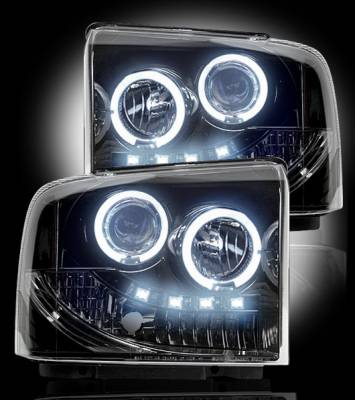 Recon Lighting - Ford Superduty 05-07 F250/F350/F450/F550 PROJECTOR HEADLIGHTS - Smoked / Black - Image 2