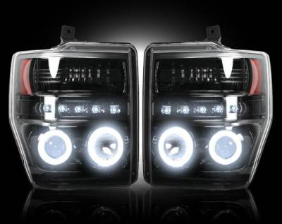 Recon Lighting - Ford Superduty 08-10 F250/F350/F450/F550 PROJECTOR HEADLIGHTS w/ CCFL HALOS & DRL - Smoked / Black - Image 1