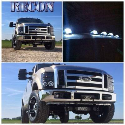 Recon Lighting - Ford Superduty 08-10 F250/F350/F450/F550 PROJECTOR HEADLIGHTS w/ CCFL HALOS & DRL - Smoked / Black - Image 3