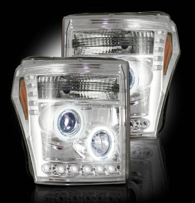 Lighting - Head Lights - Recon Lighting - Ford Superduty 11-15 F250/F350/F450/F550 PROJECTOR HEADLIGHTS - Clear / Chrome