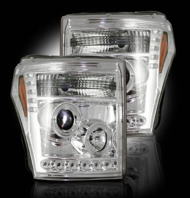 Recon Lighting - Ford Superduty 11-15 F250/F350/F450/F550 PROJECTOR HEADLIGHTS - Clear / Chrome - Image 2