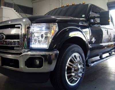 Recon Lighting - Ford Superduty 11-15 F250/F350/F450/F550 PROJECTOR HEADLIGHTS - Clear / Chrome - Image 3