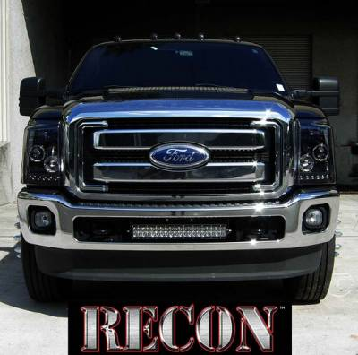 Recon Lighting - Ford Superduty 11-15 F250/F350/F450/F550 PROJECTOR HEADLIGHTS - Smoked / Black - Image 2