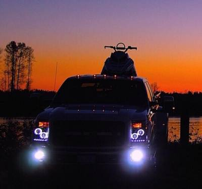 Recon Lighting - Ford Superduty 11-15 F250/F350/F450/F550 PROJECTOR HEADLIGHTS w/ CCFL HALOS & DRL - Clear / Chrome - Image 4