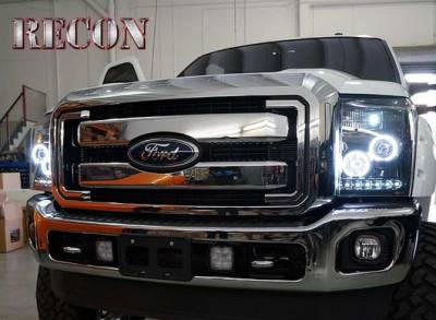 Recon Lighting - Ford Superduty 11-15 F250/F350/F450/F550 PROJECTOR HEADLIGHTS w/ CCFL HALOS & DRL - Smoked / Black - Image 1