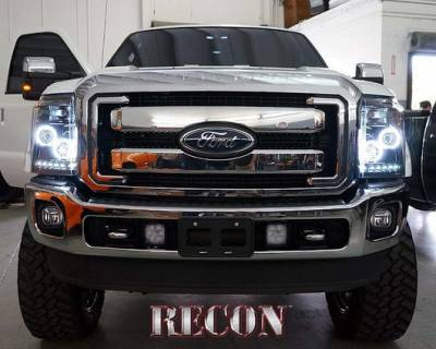 Recon Lighting - Ford Superduty 11-15 F250/F350/F450/F550 PROJECTOR HEADLIGHTS w/ CCFL HALOS & DRL - Smoked / Black - Image 2