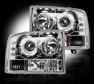 Lighting - Head Lights - Recon Lighting - Ford Superduty 99-04 F250/F350/F450/F550 PROJECTOR HEADLIGHTS - Clear / Chrome