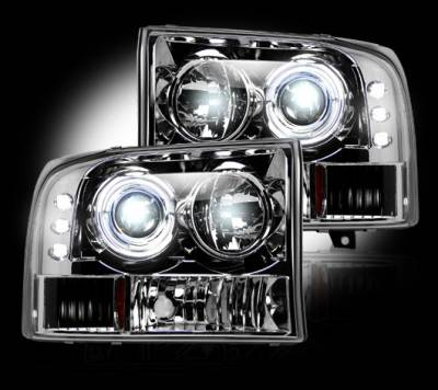 Recon Lighting - Ford Superduty 99-04 F250/F350/F450/F550 PROJECTOR HEADLIGHTS - Clear / Chrome - Image 2