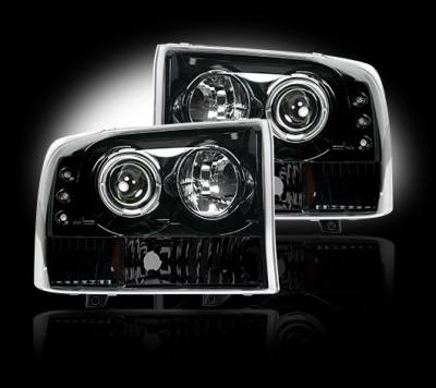 Lighting - Head Lights - Recon Lighting - Ford Superduty 99-04 F250/F350/F450/F550 PROJECTOR HEADLIGHTS - Smoked / Black