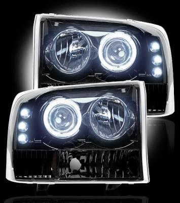 Recon Lighting - Ford Superduty 99-04 F250/F350/F450/F550 PROJECTOR HEADLIGHTS - Smoked / Black - Image 2