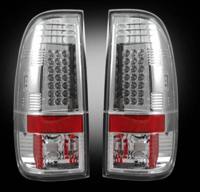 "Lighting - Tail Lights - Recon Lighting - Ford Superduty F250HD/350/450/550 99-07 & F150 97-03 Straight aka ""Style"" Side LED Tail Lights - Clear Lens"