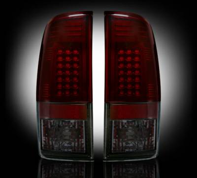 "Lighting - Tail Lights - Recon Lighting - Ford Superduty F250HD/350/450/550 99-07 & F150 97-03 Straight aka ""Style"" Side LED Tail Lights - Dark Red Smoked Lens"