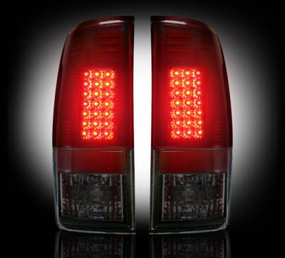 "Recon Lighting - Ford Superduty F250HD/350/450/550 99-07 & F150 97-03 Straight aka ""Style"" Side LED Tail Lights - Dark Red Smoked Lens - Image 2"