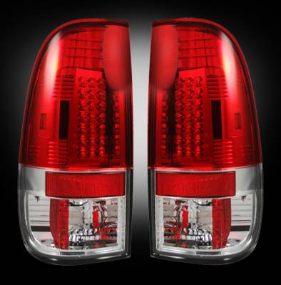 "Recon Lighting - Ford Superduty F250HD/350/450/550 99-07 & F150 97-03 Straight aka ""Style"" Side LED Tail Lights - Red Lens - Image 1"