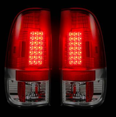 "Recon Lighting - Ford Superduty F250HD/350/450/550 99-07 & F150 97-03 Straight aka ""Style"" Side LED Tail Lights - Red Lens - Image 2"