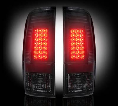"Recon Lighting - Ford Superduty F250HD/350/450/550 99-07 & F150 97-03 Straight aka ""Style"" Side LED Tail Lights - Smoked Lens - Image 2"
