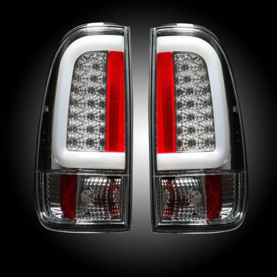 "Recon Lighting - Ford Superduty F250HD/350/450/550 99-07 & F150 97-03 Straight aka ""Style"" Side OLED Tail Lights - Clear Lens - Image 1"