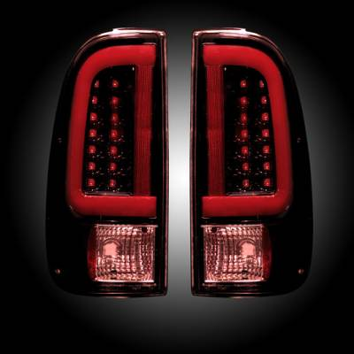 "Lighting - Tail Lights - Recon Lighting - Ford Superduty F250HD/350/450/550 99-07 & F150 97-03 Straight aka ""Style"" Side OLED Tail Lights - Dark Red Smoked Lens"