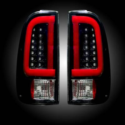 "Lighting - Tail Lights - Recon Lighting - Ford Superduty F250HD/350/450/550 99-07 & F150 97-03 Straight aka ""Style"" Side OLED Tail Lights - Smoked Lens"