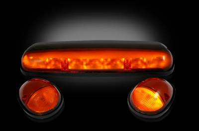 Recon Lighting - GMC & Chevy 02-07 (1st GEN Classic Body Style) Heavy-Duty (3-Piece Set) Amber Cab Roof Light Lens with Amber LED's - (Complete Wiring Kit Sold Separately) - Image 2