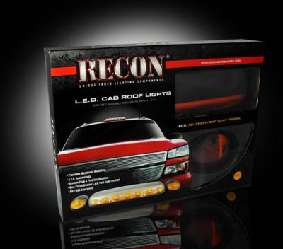 Recon Lighting - GMC & Chevy 02-07 (1st GEN Classic Body Style) Heavy-Duty (3-Piece Set) Amber Cab Roof Light Lens with Amber LED's - (Complete Wiring Kit Sold Separately) - Image 3