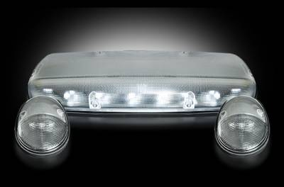 Recon Lighting - GMC & Chevy 02-07 (1st GEN Classic Body Style) Heavy-Duty (3-Piece Set) Clear Cab Roof Light Lens with White LED's - (Complete Wiring Kit Sold Separately) - Image 2