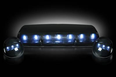 Lighting - Cab Roof - Recon Lighting - GMC & Chevy 02-07 (1st GEN Classic Body Style) Heavy-Duty (3-Piece Set) Smoked Cab Roof Light Lens with White LED's - (Complete Wiring Kit Sold Separately)