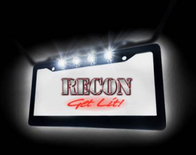 Recon Lighting - Black Aluminum License Plate Frame with Four 6000K XML CREE LED Reverse Lights - Fits all Standard U.S. License Plates - Image 3
