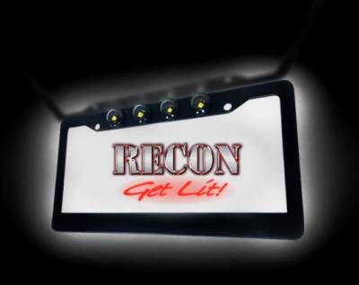 Recon Lighting - Black Aluminum License Plate Frame with Four 6000K XML CREE LED Reverse Lights - Fits all Standard U.S. License Plates - Image 4