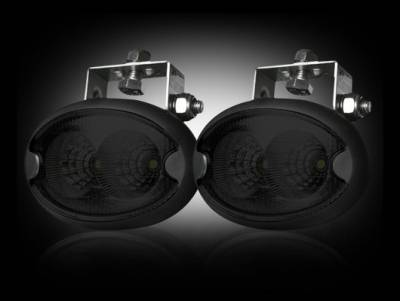 "Lighting - Off Road Lighting / Light Bars - Recon Lighting - 1100 Lumen LED Driving / Utility Light Kit w Oval Shaped Housing - Two White 10W 6500K LED's in Each Light - Sold as a Pair - Black Chrome Internal Housing with Clear Lens w/ Black Housing - Housing Dimensions are (LxWxH) 3.75"" x 2.00"" x 2.25"""