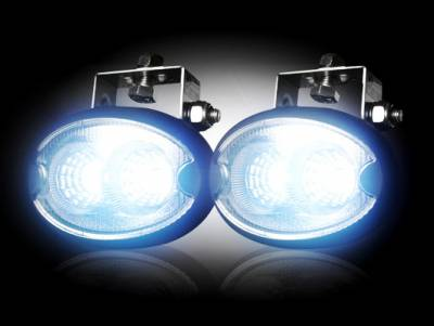 "Recon Lighting - 1100 Lumen LED Driving / Utility Light Kit w Oval Shaped Housing - Two White 10W 6500K LED's in Each Light - Sold as a Pair - Black Chrome Internal Housing with Clear Lens w/ Black Housing - Housing Dimensions are (LxWxH) 3.75"" x 2.00"" x 2.25"" - Image 2"