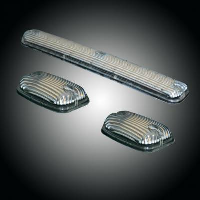 GMC & Chevy 07-14 (2nd GEN Body Style) Heavy-Duty (3-Piece Set) Clear Cab Roof Light Kit with Strobe LED's & Amber Running Light LED's - (Complete Wiring Kit Sold Separately)