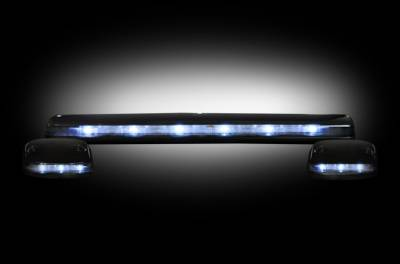 GMC & Chevy 07-14 (2nd GEN Body Style) Heavy-Duty (3-Piece Set) Smoked Cab Roof Light Lens with White LED's - (Complete Wiring Kit Sold Separately)