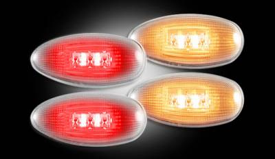 Recon Lighting - GMC & Chevy 99-14 Sierra & Silverado (1st & 2nd GEN) Dually Fender Lenses (4-Piece Set) w/ 2 Red LED Lights & 2 Amber LED Lights - Clear Lens w/ Chrome Trim - Image 2