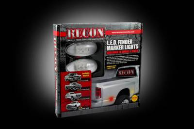 Recon Lighting - GMC & Chevy 99-14 Sierra & Silverado (1st & 2nd GEN) Dually Fender Lenses (4-Piece Set) w/ 2 Red LED Lights & 2 Amber LED Lights - Clear Lens w/ Chrome Trim - Image 3