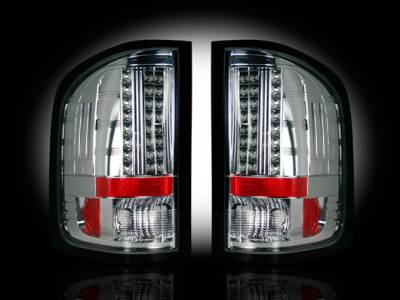 Recon Lighting - GMC Sierra 07-13 (2nd GEN ? SINGLE WHEEL ONLY) LED TAIL LIGHTS - Clear Lens - Image 1