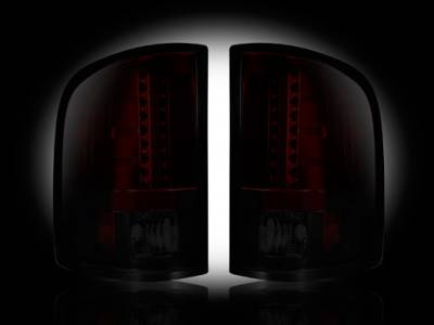 Recon Lighting - GMC Sierra 07-13 (2nd GEN ? SINGLE WHEEL ONLY) LED TAIL LIGHTS - Dark Red Smoked Lens - Image 1