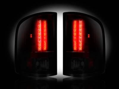 Recon Lighting - GMC Sierra 07-13 (2nd GEN ? SINGLE WHEEL ONLY) LED TAIL LIGHTS - Dark Red Smoked Lens - Image 2