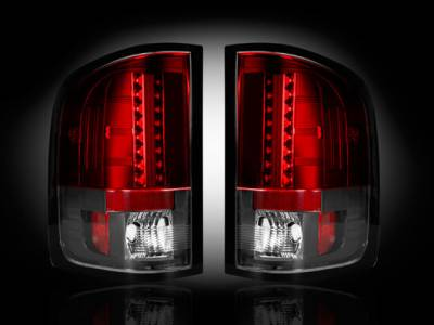 Lighting - Tail Lights - Recon Lighting - GMC Sierra 07-13 (2nd GEN ? SINGLE WHEEL ONLY) LED TAIL LIGHTS - Red Lens