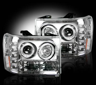 Lighting - Head Lights - Recon Lighting - GMC Sierra 07-13 (2nd GEN) PROJECTOR HEADLIGHTS - Clear / Chrome
